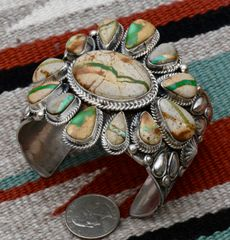 Twelve-stone Navajo Sterling cluster cuff with ribbon (boulder) turquoise, by Tillie Jon.