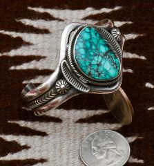 Smaller wrist size Navajo Sterling and turquoise dead-pawn cuff, by Martha Cayatineto.