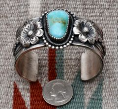 Medium wrist size dead-pawn Navajo Sterling cuff, by Myron Etsitty.
