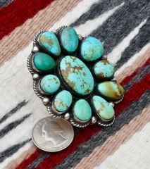 Size 7.25 Navajo very large cluster ring with Royston, Nevada turquoise, by Augustine Largo.