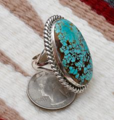 Size 7.25 Sterling Navajo ring with new No. 8 Mine turquoise, by Alfred Martinez