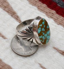 Size 11-plus Sterling Navajo ring with new No. 8 Mine turquoise.