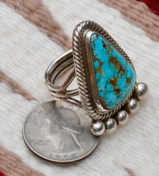 Size 9 Sterling Navajo ring with Kingman, Arizona turquoise, Alfred Martinez.