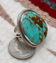 Size 7.5 Sterling Navajo ring with Royston, Nevada turquoise, by Alfred Martinez.