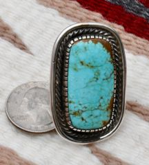 Size 8.5 Sterling dead-pawn Navajo ring with No. 8 Mine turquoise, by Myron Etsitty.