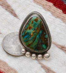 Size 8.25 Sterling Navajo Ring with Nevada Easter Blue turquoise.—SOLD!