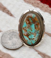 Size 9.5 Sterling Navajo ring with Kingman turquoise, by Michael Jack.