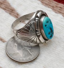 Size 12 dead-pawn Navajo Sterling ring with Sleeping Beauty turquoise.