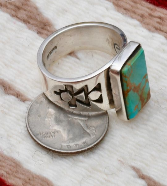 Size 14 dead-pawn Navajo double-overlay Sterling ring with Royston, Nevada turquoise by Gary Nez.