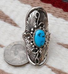 Size 8.5 Sterling Navajo ring with Sleeping Beauty turquoise.