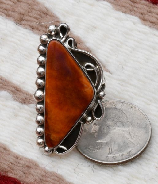 Size 7.5 Navajo Sterling ring with mahogany spiney oyster shell, by Alfred Martinez.