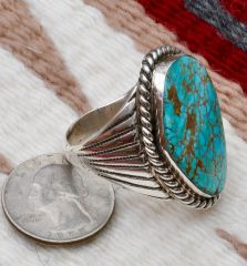 Size 14 Navajo heavy silver dead-pawn ring with No. 8 Mine turquoise, by Stan Slim.