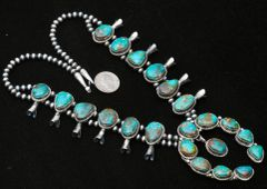 Navajo Sterling squash blossom necklace with Turquoise Mountain turquoise, by Augustine Largo.—SOLD!