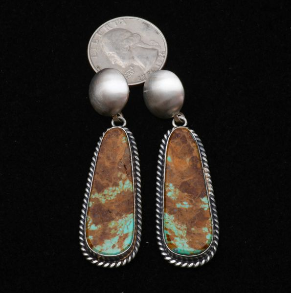 Navajo two-piece Sterling earrings with Kingman turquoise by Elouise Kee.