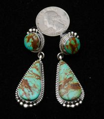 Navajo Sterling two-piece earrings with double Kingman turquoise, by Elouise Kee.