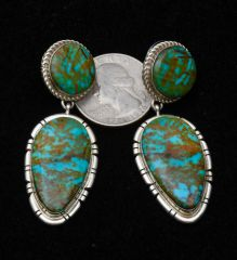Stunning two-piece Navajo Sterling earrings with Nevada Easter Blue turquoise.—SOLD!