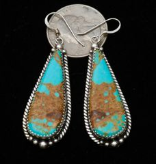 Elongated Navajo Sterling earrings with nice copper matrix Kingman turquoise, by Virginia Becenti.—SOLD!