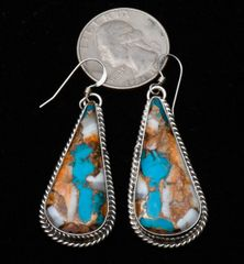 Navajo Sterling earrings with spiney oyster; turquoise, and bronze mix stones, by Donovan Skeet. NOTE: the pair pictured sold, but have about 20 other pair almost identical.