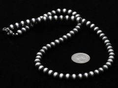 "24-inch, 8mm burnished Sterling bead necklace popularly known as ""Navajo Pearls."""