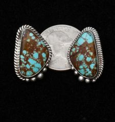 "Smaller size Navajo Sterling earrings with ""new"" No. 8 Mine turquoise, by Elouise Kee."
