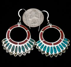Dead-pawn Navajo chipped-inlay Sterling earrings with turquoise and coral.