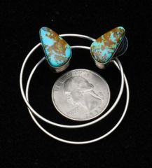 "Sterling Navajo ""power hoop"" post earrings with Kingman turquoise, by Augustine Largo."