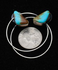 "Navajo Sterling ""power hoop"" post earrings with Kingman, Arizona turquoise by Augustine Largo."