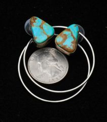 "Sterling Navajo ""power hoop"" post earrings with beautiful Kingman turquoise by Augustine Largo."