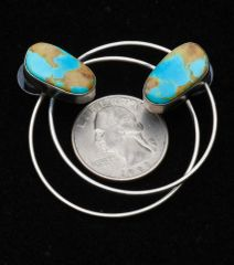 """Power hoop"" Sterling Navajo post earrings with Kingman turquoise by Augustine Largo."