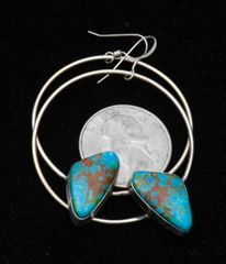 """Power hoop"" Sterling Navajo hook earrings with Kingman turquoise by Augustine Largo."