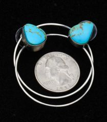 """Power hoop"" Navajo Sterling post earrings with Kingman turquoise, by Augustine Largo."