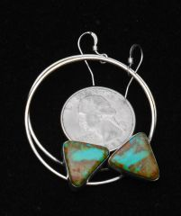 """Power hoop"" Navajo Sterling hook earrings with Kingman, Arizona turquoise, by Augustine Largo.—SOLD!"