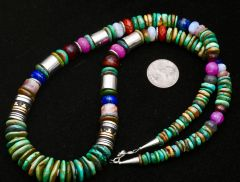 28-inch Navajo turquoise bead legacy necklace with gold-fill barrel beads.