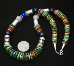 21.5-inch Navajo turquoise bead and gold-fill barrel legacy necklace.