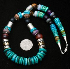21.5-inch Navajo turquoise bead legacy necklace with gold-fill barrel beads.