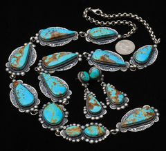 "Navajo Sterling eleven-pendant ""lariat"" necklace with Kingman turquoise and matching earrings, by Gilbert Tom.—SOLD!"