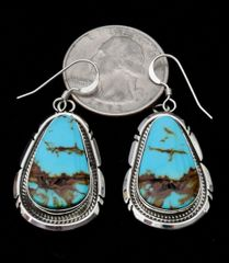 Navajo Sterling hook earrings with bookend-match Kingman Turquoise, by Elouise Kee.