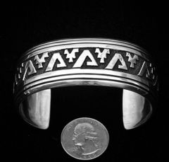 Navajo Sterling double-overlay cuff by T&R Singer.