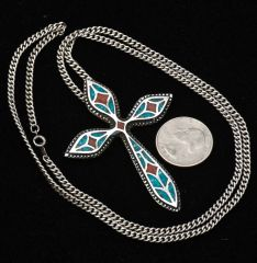 Vintage dead-pawn Navajo chipped-inlay heavier-silver Sterling cross with 26-inch solid Sterling chain.