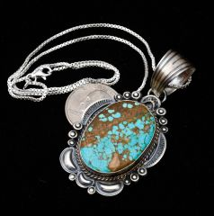 Old-style Navajo Sterling pendant with No. 8 Mine turquoise, by Robert Shakey.