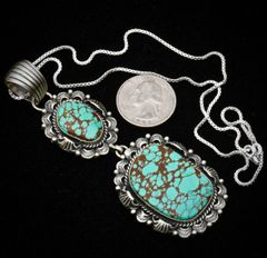Sterling Navajo double-pendant with spider-web Royston mine turquoise, by Leroy James.