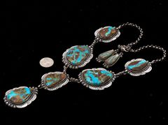 Navajo Sterling large-pendant necklace with ribbon (boulder) turquoise, by Gilbert Tom.