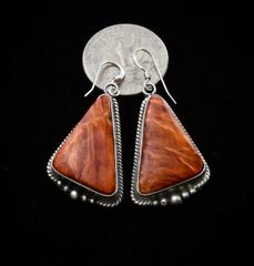 Navajo earrings with Spiney Oyster shell by Elouise Kee, Navajo.