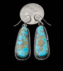 Navajo Sterling earrings with Kingman, Arizona turquoise by Elouise Kee, Navajo.—SOLD!
