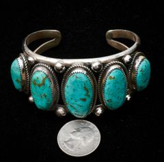 Navajo dead-pawn five-stone Sterling cuff with Royston, Nevada turquoise by Leslie Nez.