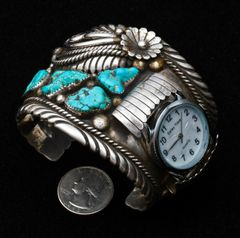 Dead-pawn Sterling Navajo vintage watchband, by St. Paul Huerfano.—SOLD!