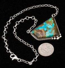 Navajo Sterling bar necklace with boulder (ribbon) turquoise, by Donovan Skeet.