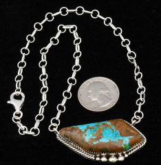Navajo Sterling bar necklace with ribbon (boulder) turquoise, by Donovan Skeet.
