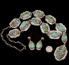 Navajo 12-stone Lariat necklace and matching earrings with No. 8 Mine turquoise, by Gilbert Tom.