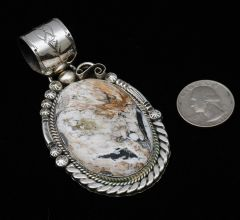 Custom-made large Navajo Sterling pendant with hand-picked white buffalo, by Augustine Largo.—SOLD!